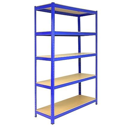 5 Bay Warehouse Shelving / Shed Storage / Garage Racks 5 Tier 120cm x 45cm x 180cm T-RAX + FREE Rubber Mallet