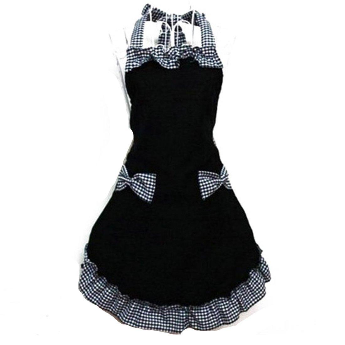 New 2016 Cute Bib Apron Dress Flirty Vintage Kitchen Women Bowknot With Pocket Gift 0