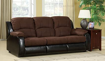 Grande 2 tone contemporary style elephant skin microfiber and leather like vinyl queen size pull out sleeper sofa