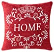 """Vintage Chenille Cushion Cover, Home Design, Machine Washable, Hard Wearing, Red, 18"""" x 18"""", 45cm x 45cm"""