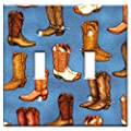 Art Plates - Cowboy Boots (Denim) Switch Plate - Double Toggle