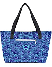 Pack Of 2 Blue And Purple Combo Tote Shopping Grocery Bag With Coin Pencil Purse
