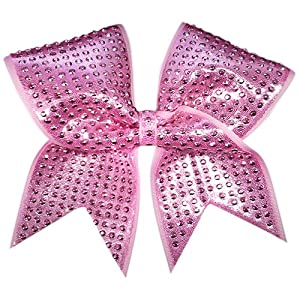 Charmed Pink-Shimmer Cheer Bow Pink Cheer Bow