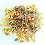 オシャレ かわいい クリスマス ツリー リース 用 オーナメント 飾り オレンジ ゴールド 24個 セット ボール リボン 星 松ぼっくり プレゼント