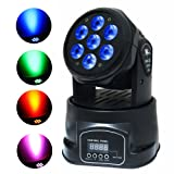Stage Lighting by Kshioe, 4-in-1 7x10W RGBW Moving Head Light by DMX512 LED with 4 Control Mode for DJ KTV Disco Party Ballroom (Color: Black, Tamaño: Pack 1)