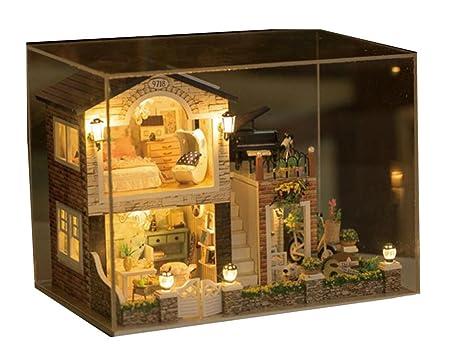Maison De PoupéesStyle de maison meubles Kit Irlande mini décoration maison artisanale en bois poupées salle Don Doll House
