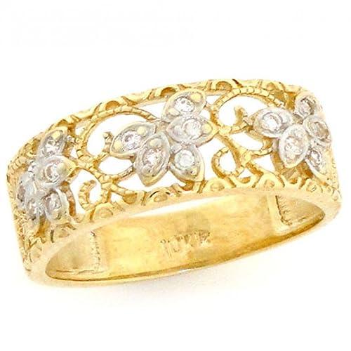 10k-Solid-Yellow-Gold-Filigree-Leaf-Design-CZ-Band-Ring