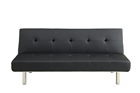 DHP Axel Futon Black/Gray Faux Leather with White Stitching and Chrome Legs