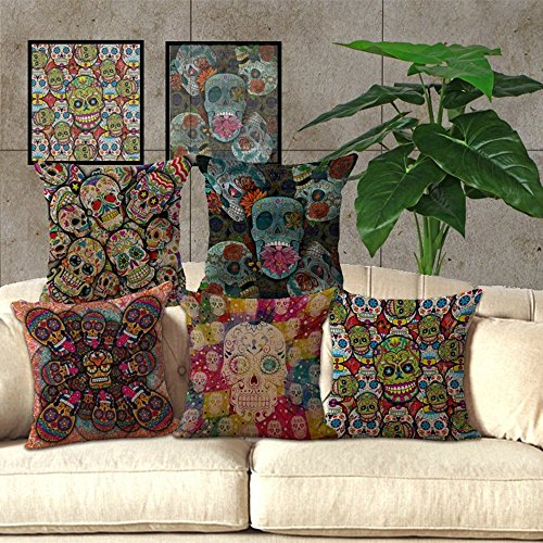 Indian skull cushion cover chezmax cotton linen throw for Sofa seat cushion covers india