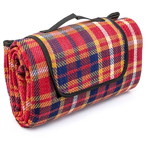 relaxdays-waterproof-picnic-blanket-travel-mat-plus-carrying-handle-red-blue-plaid-large