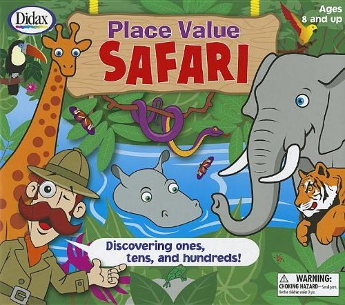 Place Value Safari: Discovering Ones, Tens, and Hundreds! [With 2 Six-Sided Dice and 4 Safari Boards, 15 Jungle Cards, 4 Counters and Jungle Playing B (Place Value Games compare prices)