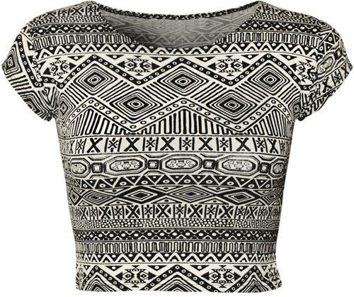 Women's Print Cap Sleeve Crop Top