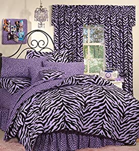 Amazon Com Purple Zebra 8 Pc Full Comforter Set One