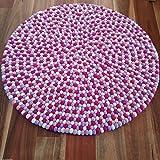 "100cm (39"") Round Mimosa Marshmallow Felt Ball Rug - Handmade 100% Wool Floor Mat - Pink, Purple & White Area Rug - Custom Designs Also Available"