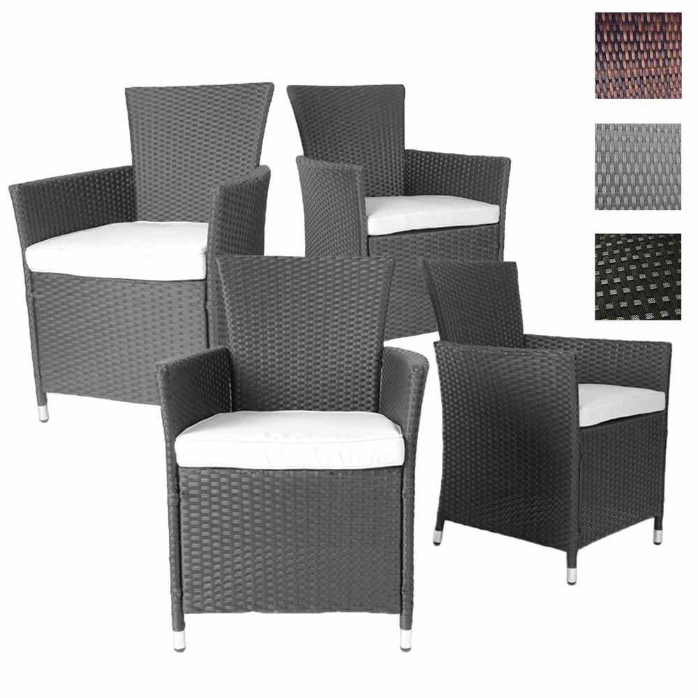 4er Set Polyrattan Stühle – bequeme Gartenmöbel Sessel inkl. Sitzkissen, verschiedene Farben günstig kaufen