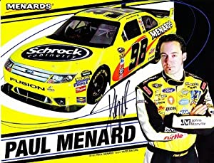 Buy AUTOGRAPHED Paul Menard 2010 Menards (#98 Schrock Cabinetry) 8.5X11 Hero Card by Trackside Autographs