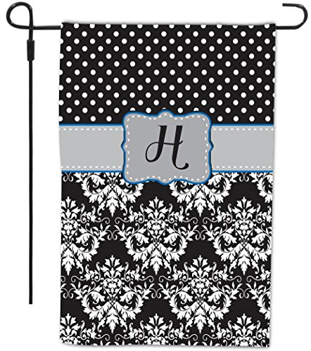 """Rikki Knighttm Rikki Knight Initial """"H"""" Grey Blue Black Damask Dots Monogrammed Design Decorative House Or Garden Flag 12 X 18 Inch Full Bleed (Proudly Made In The Usa) front-578226"""