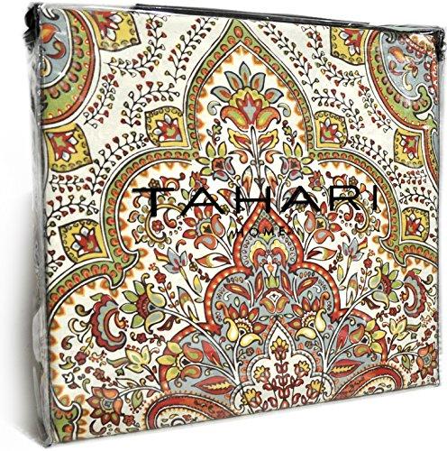 Tahari Home Red Orange Sage Full Queen Duvet Cover 3pc Set