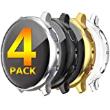 [4 Pack] HANKN for Samsung Galaxy Watch Active 2 Screen Protector 44mm Case, Full Front Coverage Soft TPU Plated HD 40mm Frame Protective for Samsung Cover Bumper (Black+Silver+Gold+Clear, 44mm) (Color: Black+Silver+Gold+Clear, Tamaño: 44mm)