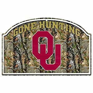 Buy NCAA Oklahoma Sooners 11-by-17 Inch Gone Hunting RealTree Camo Wood Sign by WinCraft