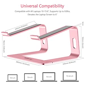 Nulaxy Laptop Stand, Ergonomic Aluminum Laptop Computer Stand, Detachable Laptop Riser Notebook Holder Stand Compatible with MacBook Air Pro, Dell XPS, HP, Lenovo More 10-15.6 Laptops (C- Rose Gold) (Color: C- Rose Gold)