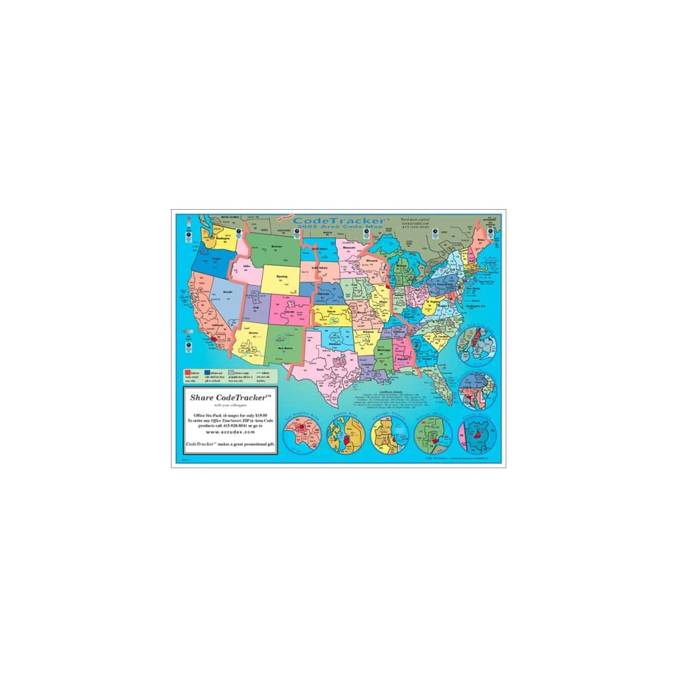 2002 CodeTracker Area Code Map area codes and time zones for ...