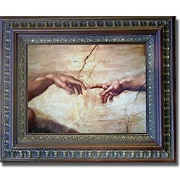Creation of Adam (Detail) by Michelangelo Premium Mahogany & Gold Framed Canvas (Ready-to-Hang)