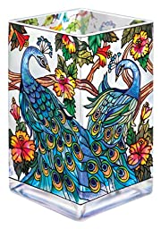 Amia Glass Vase/Votive with a Colorful,  Hand-Painted Peacock Design, 6-Inches Tall