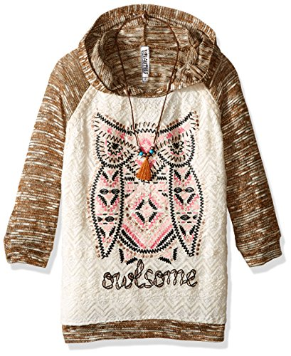 Beautees Big Girls' L/s Textured Knit Hood with Butterfly Heatseal, Tan, Small