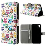 Multiple Owls Case for HTC Desire Eye - Colorful wallet flip cover with stand