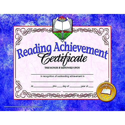 Hayes Reading Achievement Certificate, 8-1/2 X 11 in, Paper, Pack of 30
