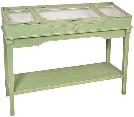 Clayre y fed 5H0065 pared mesa de cómoda con ranuras y cajón aprox 130 x 47 x 97 cm verde