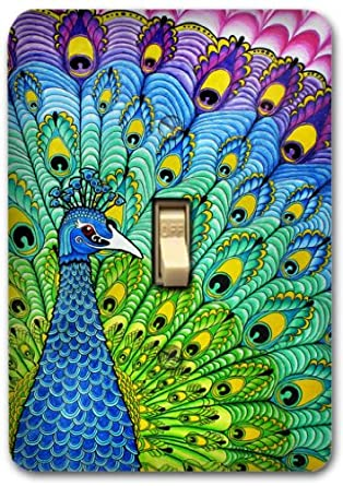 Colorful Peacock Metal Light Switch Plate Cover Kitchen Bath Bedroom Home Decor 532
