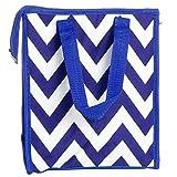 Womens Nylon Insulated Lunch Tote Bag (Blue & White Chevron)
