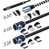 TOPK USB Magnetic Cable,Micro USB and Type C 3in1, 90 Degree Right Angle,Nylon Braided Cord,360 Magnetic Charging Cable with Led Light,(3-Pack,3.3ft/6.6ft/6.6ft) Cell Phone Charger Cable for Android (Color: 3Pack Magnetic Cable(Black), Tamaño: 3-Pack Magnetic 3in 1 USB Cable)