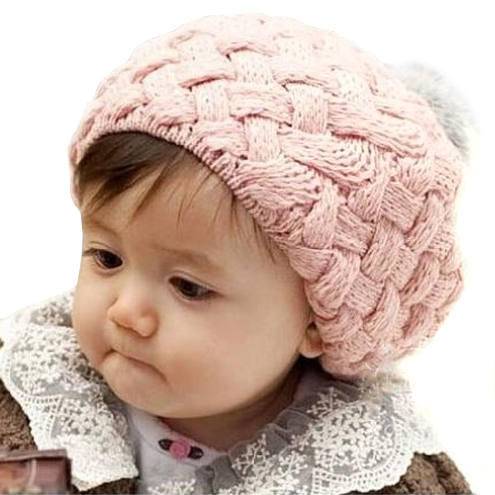 Crochet Stitches Baby Hats : ... Knit Beanie Crochet Rib Pom Pom Hat Cap Warm - Crocheted Hats for Baby