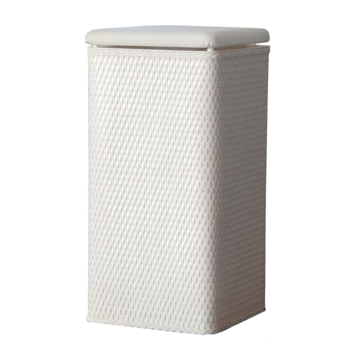 Lamont home carter apartment wicker laundry hamper with coordinating padded v ebay - White wicker clothes hamper ...