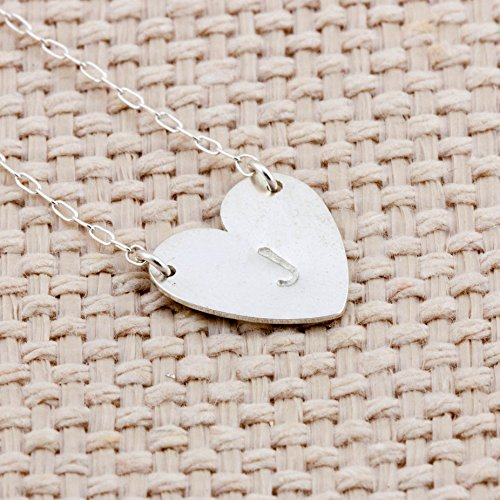 Sterling Silver Hand Stamped Heart Shaped Pendant And Necklace - Initial J