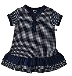 Babeez Baby Girl All over printed Dress with fringes at the bottom hem (95% Cotton 5% Elasthan) to fit height 74 - 80cms