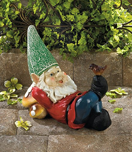 Eastwind Gifts 10016214 Lazy Gnome Solar Garden Statue