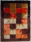Shaggy Brown with Orange Living Room Area Rug Shaggy Viscose Design Collection ,~5 ft. x 7 ft. (152 x 214) FREE RUG PAD INCLUDED