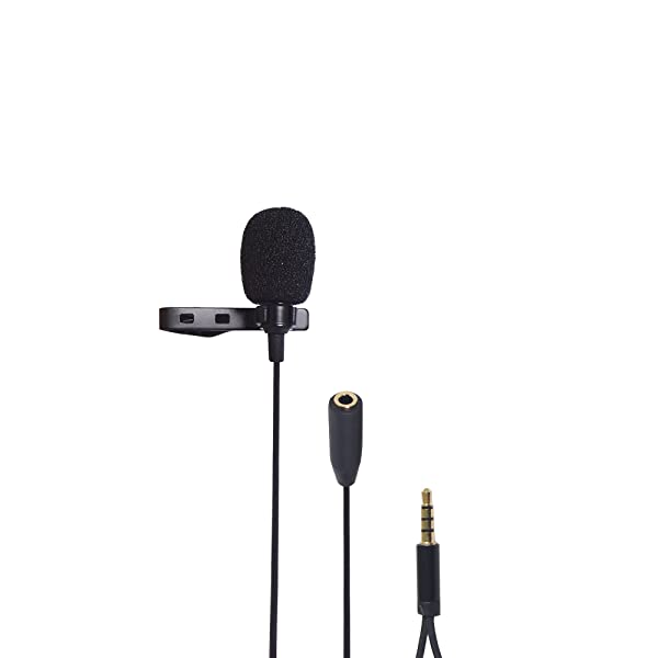 Riqiorod Lavalier Lapel Microphone, Omidirectional Mic with 3.5mm TRRS Jack Female Port, for Audio Gaming Interview Podcast Youtube Smartphone iPhone