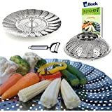 Vegetable Steamer Basket Complete Bundle by Kitchen Deluxe - 100% Premium Stainless Steel - Bonus 2 in 1 Julienne Veggie Peeler Slicer and Recipe eBook