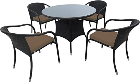 Galileo 2408460Milo Table avec 4chaises a + b, protrattane, marron Marron 80x60x102 cm marron