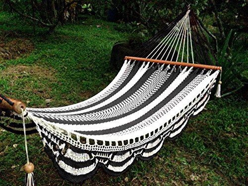 Artisan Handwoven Hammock 13 Ft 2 Person 500 Lbs (Black/white)
