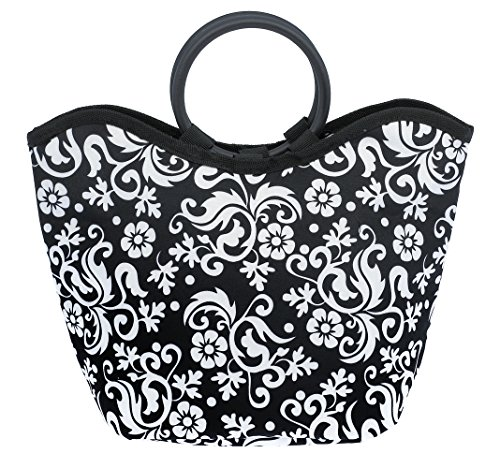 Merkapa Thermo Cooler Insulated Bag Freezer Lunch Tote (White Flower on Black) (Coolers Thermos compare prices)