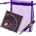 Beaded Notebook and Pen - Purple