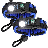 Nexfinity One Survival Paracord Bracelet - Tactical Emergency Gear Kit with SOS LED Light, Knife, 550 Grade, Adjustable, Multitools, Fire Starter, Compass, and Whistle - Set of 2 Blue (Color: Blue/Black, Tamaño: Medium)