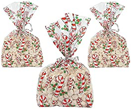 72 CANDY CANE Cellophane GOODY BagsCELLO GiftLOOT BAGS for HOLIDAYCHRISTMAS PartiesFAVORCOOKIESSWEET
