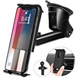 Kaome 3 in 1 Phone Holder for Car Phone Mount Suction Cup Universal Air Vent Windshield Dashboard for iPhone 11 pro/11/Xs Max/XR/X/8/7/iPad mini/Galax